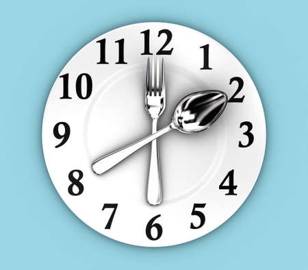 Illustration of fork and spoon as a clock