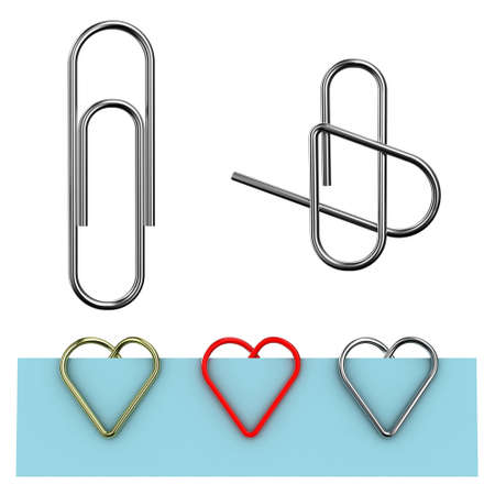 clump: Paper clip illustration in the form of heart on a white background