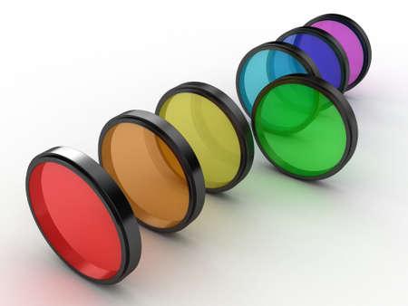 Illustratie van photofilters van verschillende kleur op een witte achtergrond Stockfoto