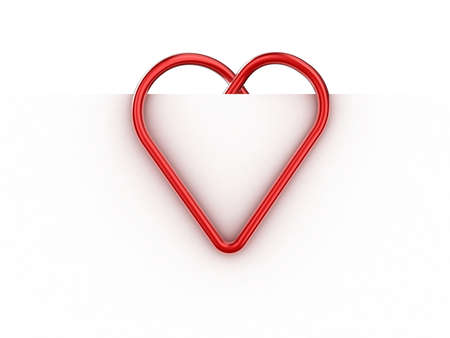 Paper clip illustration in the form of heart on a sheet of paper Stock Illustration - 11183157
