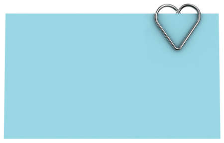 clasp: Paper clip illustration in the form of heart on a sheet of paper Stock Photo