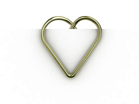 Paper clip illustration in the form of heart on a sheet of paper Stock Illustration - 11279850