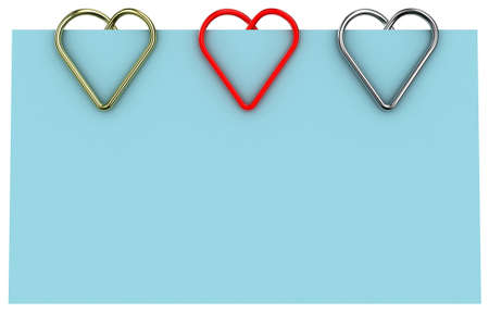 Paper clip illustration in the form of heart on a sheet of paper Stock Illustration - 11279853