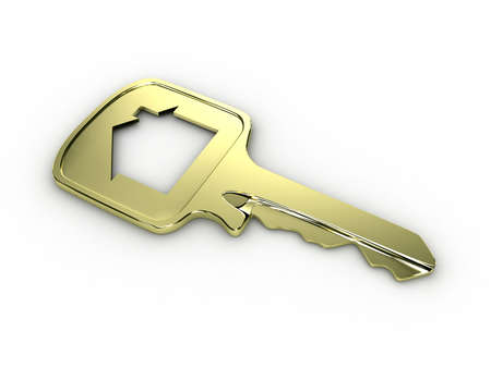 unlocking: Illustration of a house key on a white background