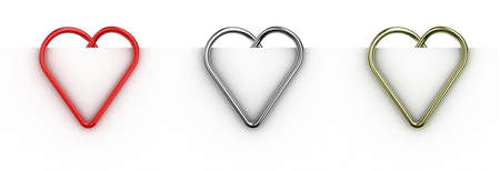 Paper clip illustration in the form of heart on a sheet of paper illustration