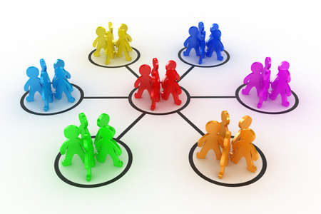 Illustratie van interactie van verschillende groepen mensen
