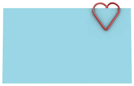 Paper clip illustration in the form of heart on a sheet of paper Stock Illustration - 11279866