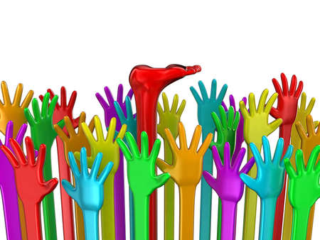 raise the thumb: Illustration of hands and foot of the different colours Stock Photo