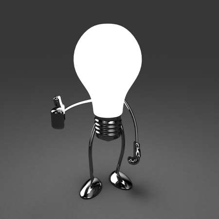 Illustration of a white bulb with hands and feet illustration