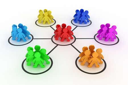 Illustratie van de interactie van verschillende groepen mensen Stockfoto