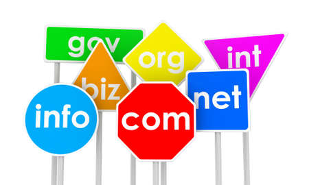 Illustration of domain names as traffic signs illustration