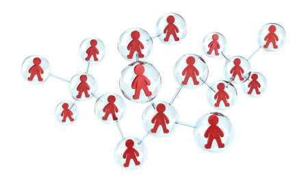 Illustration of interaction of many people in one network Stock Illustration - 11479113