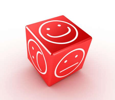 Illustratie van een rode kubus met verschillende gezichten