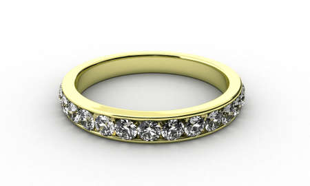 wedding band: Illustration of a gold ring with many brilliants