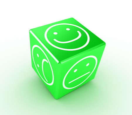 Illustration of a green cube with different faces Stock Illustration - 11479130