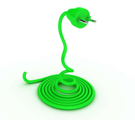 plugging: Illustration of a cable with a plug in the form of a snake Stock Photo