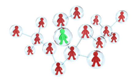 Illustration of interaction of many people in one network illustration