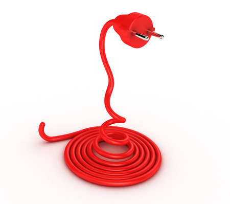 environmental hazard: Illustration of a cable with a plug in the form of a snake Stock Photo