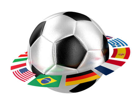 Illustration of a football with flags of the different countries of the world illustration