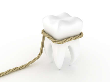 carious: Illustration of human tooth in a loop on a white background Stock Photo