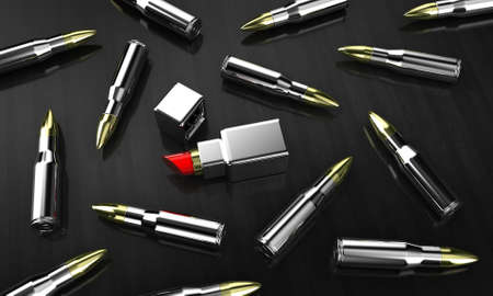 captivate: Illustration of cartridges with lipstick on dark a background