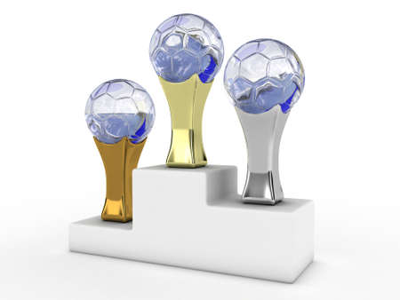 Illustration of three football trophies on a podium illustration