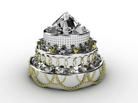 wedding cake: Illustration of a pie from jewelry on a white background