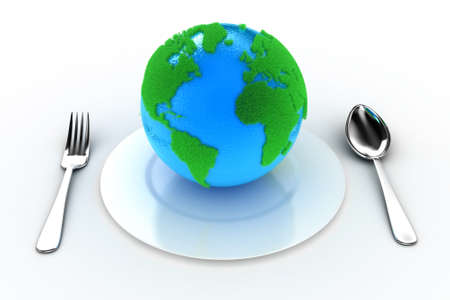 Illustration of the Earth on a plate with a fork and a spoon