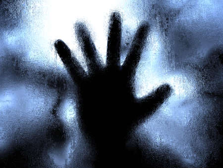 frosted: Illustration of a silhouette of a hand under ice