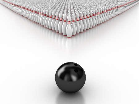 speld: Illustratie van een bal en kegels voor de bowling