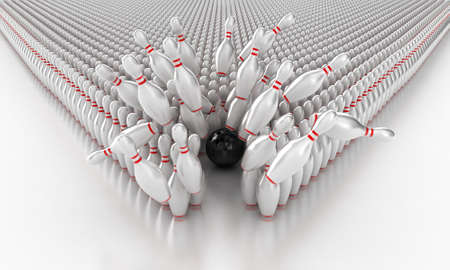 Illustratie van een bal en kegels voor de bowling