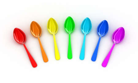 flatwares: Illustration of multicolored spoons on a white background Stock Photo