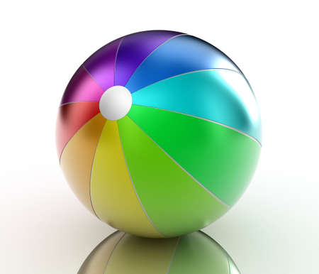 inflate: Illustration of a multicoloured ball on a white background Stock Photo