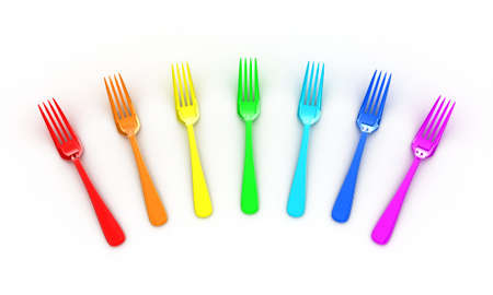 rainbow colours: Illustration of multicolored forks on a white background Stock Photo