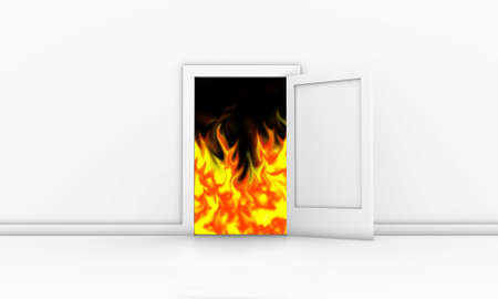 open flame: Open door in a white room with fire outside