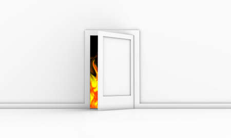Open door in a white room with fire outside photo