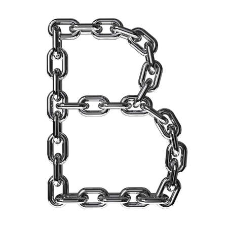 chained link: Illustration of a letter B from a chain on a white background