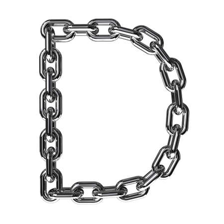 linked: Illustration of a letter D from a chain on a white background