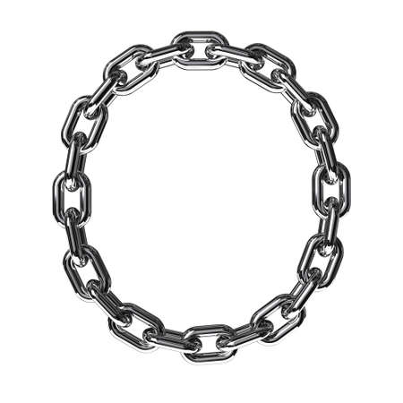 linked chain: Illustration of a letter O from a chain on a white background
