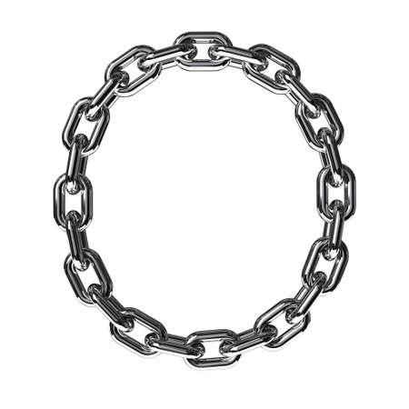 letras cromadas: Ilustración de una letra O de una cadena sobre un fondo blanco