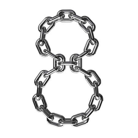 Illustration of a figure 8 from a chain on a white background illustration