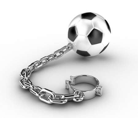 ball chains: Illustration of a football ball with a chain and handcuffs