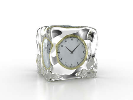 stopped: Frozen clock inside an ice cube on a white background