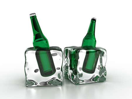 frozen drink: Frozen bottles inside an ice cube on a white background Stock Photo