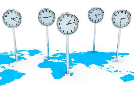 Illustration of different clocks on the world map illustration