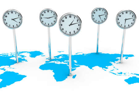 timezone: Illustration of different clocks on the world map Stock Photo