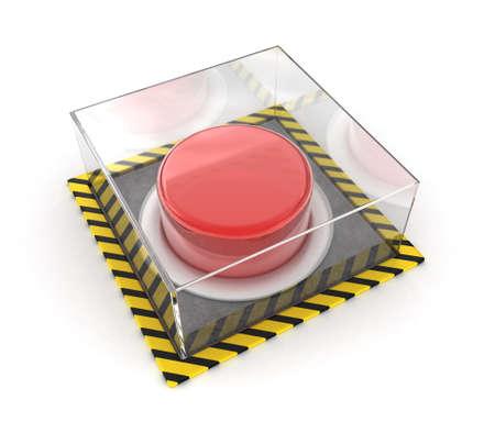 unpressed: Ilustraci�n del bot�n rojo bajo un cristal sobre un fondo blanco