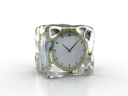 hour glass figure: Frozen clock inside an ice cube on a white background