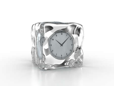 horologe: Frozen clock inside an ice cube on a white background