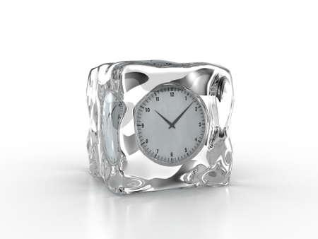 frozen water: Frozen clock inside an ice cube on a white background